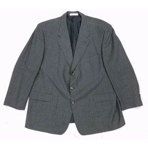 John W Nordstrom Wool Mohair 3 Button Gray Pinstripe Blazer Sport Coat Mens 50L
